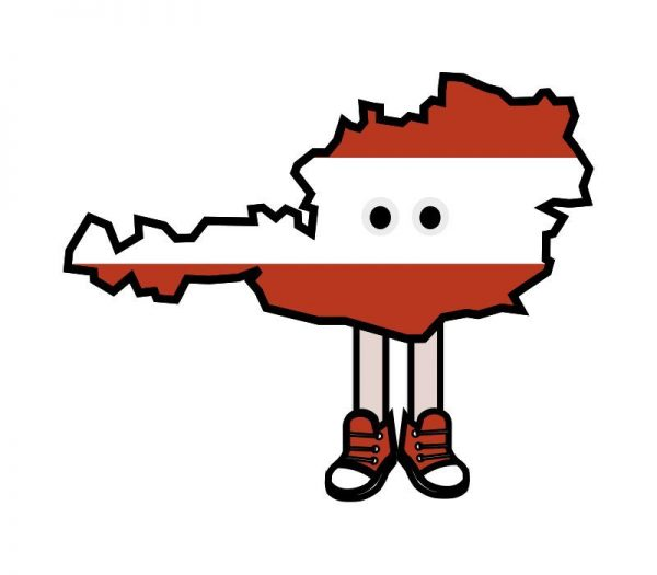 Austria with Shoes Pin
