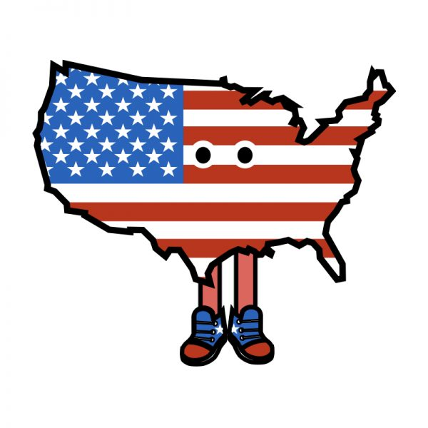 USA with Shoes Pin