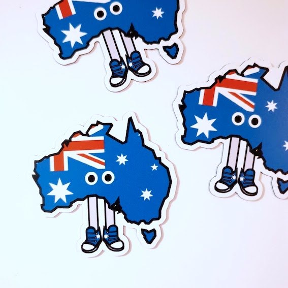 Australia with Shoes Magnet 1