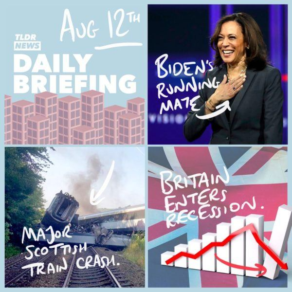 August 12th: A Crash in Stonehaven, The UK Recession and Biden's Vice Presidential Candidate