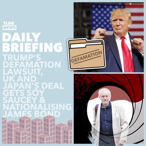 October 28: A Trump Defamation Claim, A Debate About Soy Sauce and Nationalising James Bond 3