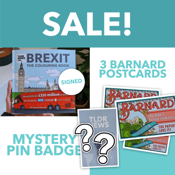 Brexit: The Colouring Book Expanded Edition (Signed), 3 Barnard Postcards & Mystery Pin 2