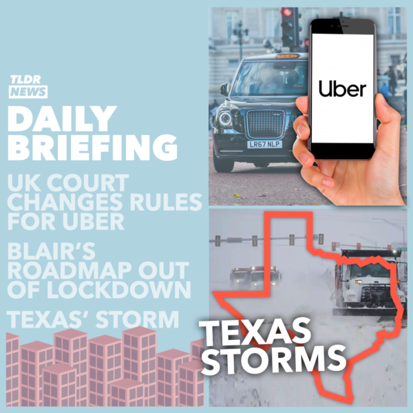 February 19: A Texan Storm, Blair's Roadmap, and Uber Drivers