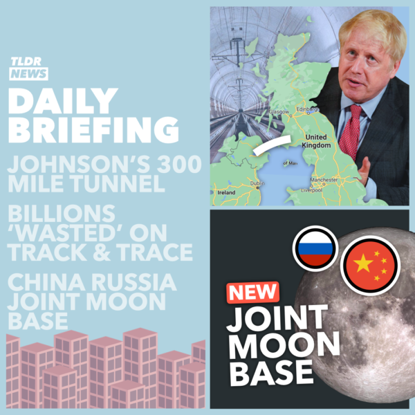 March 10:  Johnson's Northern Irish Tunnel, the £37 Billion spent on Britain's failing Test and Trace system, China and Russia's Moon Base, and a Pennsylvania Posties' Present 3